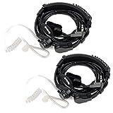 Retevis K001 Headset mit Kehlkopfmikrofon Ohrhörer 2-pin Kompatibel mit Funkgerät Walkie Talkies RT24 RT21 RT22 RT27 RT1 RT3 RT3S RT5 RT5R RT7 H777 Baofeng UV5R Kenwood TYT (2 STK, Schwarz)