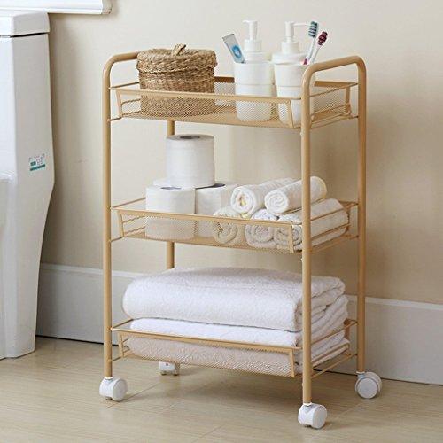 ILQ Badezimmer-Regal-Landungs-Metallküchen-Lagerregal-Lagerregal, das es Rückstand-Gestell bewegen kann,Orange