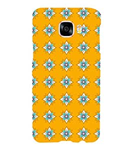 Printvisa Yellow And Flue Floral Pattern Back Case Cover for Samsung Galaxy C5