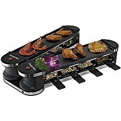SUNTEC Raclette RAC-8151 Flex 8 metal/metal [pour 8 personnes, 2x plaque de grillade, l'appareil replie/déplie (rotation à 180°) grâce à la structure articulée innovante, max. 1400 watt