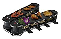 Durch das innovative Design des RAC-8151 Flex 8 von Suntec lässt sich das Raclette-Set in der Mitte umklappen. Somit passt es sich an jede Tischform an. Die zwei Grillplatten und acht Pfannen, jeweils mit Antihaftbeschichtung, sorgen für leckere gegr...