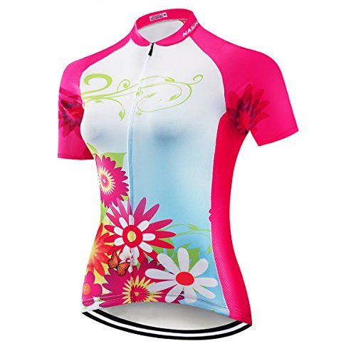 NASHRIO Damen Fahrradtrikot Kurzarm Rennrad Trikot Tops Fahrradbekleidung - atmungsaktiv und schnell trocknend mit 3 Taschen, Damen, rot, Medium -