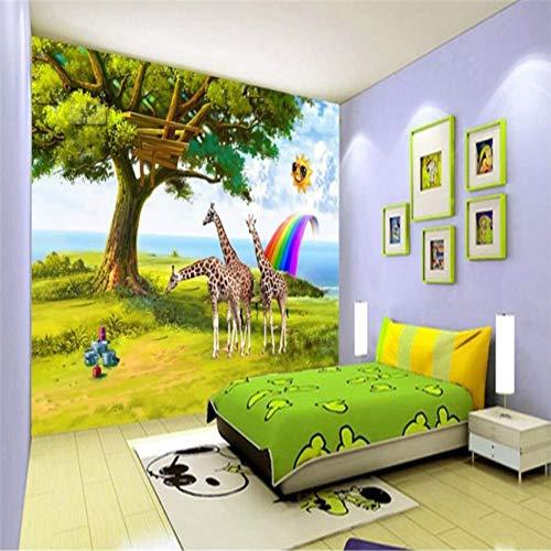 Benutzerdefinierte 3D Wallpaper Hd Kinderzimmer Giraffe Sun Rainbow Wallpaper Hintergrund Dekoration, 150 × 105Cm