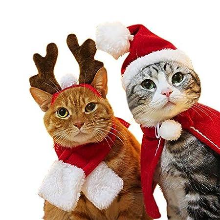 Kungfu Mall 1 Set (4 Stück) Weihnachts-Outfit für Hunde mit Weihnachtsmantel, Schal, Geweihmütze, verstellbares Halsband…