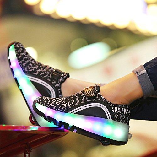 AIMOGE Enfant Basket Flyknit Roulettes À Chaussures Led Lumière Chaussures Garçons Filles Sneakers Avec Roues Noir-1