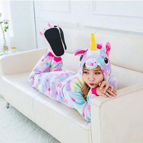 Süßes Einhorn Overalls Jumpsuits Pyjama Fleece Nachtwäsche Schlaflosigkeit Halloween Weihnachten Karneval Party Cosplay Kostüme für Unisex Kinder und Erwachsene (S, Stern Einhorn) - 9
