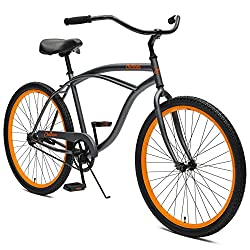 Critical Cycles Herren Chatham Men's Beach Cruiser Single Speed, Graphite w/Orange, grau, One Size