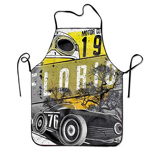 KLYDH Men&Women Vintage Race Car Chef&Cook Kitchen Bib Apron (Pro Bib Race)