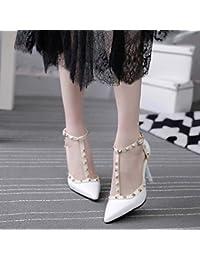 La nueva mujer zapatos _ alto talón zapatos zapatos de mujer correa ranurada con remaches de punta fina, blanca 38