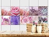 GRAZDesign 770358_15x15_FS20st Fliesenaufkleber Bad - Fliesen zum Aufkleben Blumen in rosa und blau | Fliesen mit Fliesenbildern überkleben | 10 Motive | selbstklebende Folie für Badezimmer (15x15cm // Set 20 Stück)
