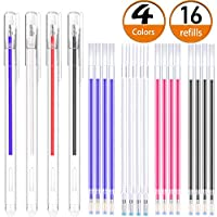 Heat Erasable Fabric Marking Pens with 16 Refills for Tailors Sewing, and Quilting Dressmaking, 4 Colors Heat Erasable Pens for Various Colors of Fabrics