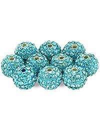 Lot de 10 pcs Perles Style Shamballa Strass Crystal 10 mm