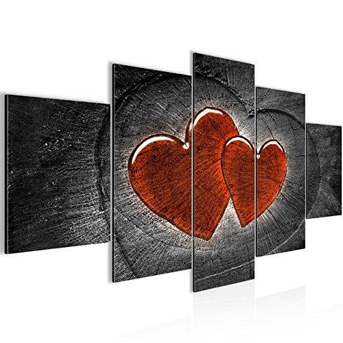 Herz Leinwand (Runa Art Bilder Herzen Holz Wandbild 200 x 100 cm Vlies - Leinwand Bild XXL Format Wandbilder Wohnzimmer Wohnung Deko Kunstdrucke Grau 5 Teilig - Made in Germany - Fertig Zum Aufhängen 104151c)