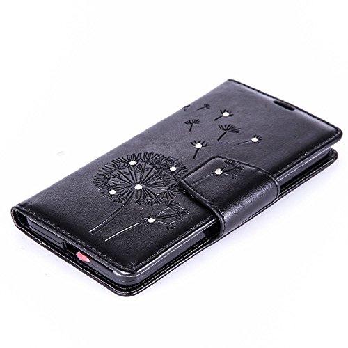 Custodia Microsoft Lumia 650 ISAKEN Cover Nokia N650 con Strap, Elegante borsa Farfalla Design in Pelle Sintetica Ecopelle PU Case Cover Protettiva Flip Portafoglio Case Cover Protezione Caso con Supp Dente di leone : nero