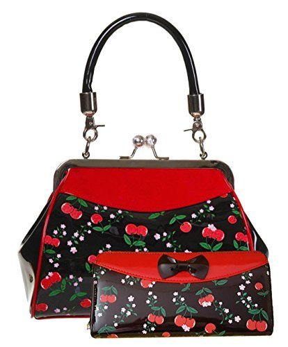 "Dancing Days da Banned Rockabilly ""Romantici"" Cherry Borsetta Con Chiusura A Scatto - Borsa e Portafoglio Set"