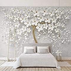 Idea Regalo - Yishuqiang Carta Da Parati Murale Fiori Bianchi 3D Decorazione Della Parete Della Camera Da Letto Del Soggiorno Quadri Murali
