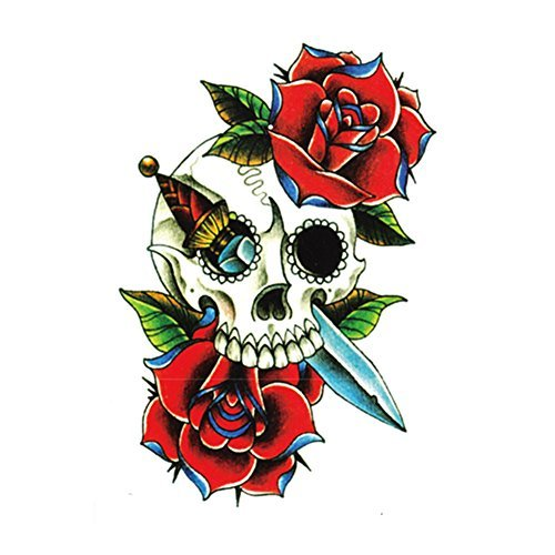 generique-1-pc-tatouage-temporaire-corps-sticker-impermeable-crane-fleur-rouge