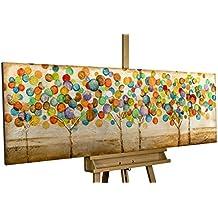 Dipinto in acrilico KunstLoft® 'Foglie d'autunno colorate' in 150x50cm | Tele originali manufatte XXL | Un bosco e oro colorato da alberi astratti | Quadro da parete dipinto in acrilico arte moderna