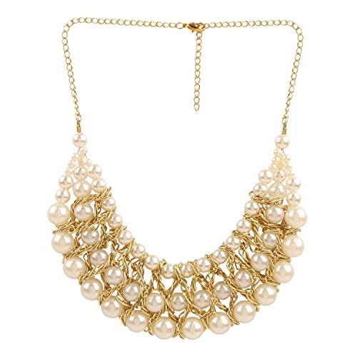 Efulgenz Trendy Gold Plated Fancy Party Wear Pearl Statement Necklace Jewellery Set for Girls and women  available at amazon for Rs.243