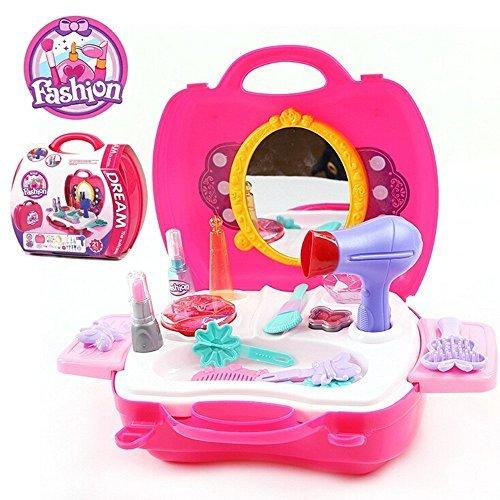 SainSmart Jr. Kinderschminkset Kindertag Geschenk für Kinder Schminksachen Mädchenkoffer für Kinder Mädchen Schönes Schminkset mit vielen Zubehör Pretend Makeup kit (14 Stück) (Kinder Für Make-up-kit)