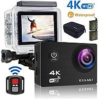 """Caméra Sport 4K WiFi, Caméras d'action étanches GULAKI Ultra HD 2.0"""" Écran LCD 170 ° à Grand Angle avec capteur Sony - 2 Batteries PC 1050mAh et Kits d'accessoires à Distance 2,4 GHz"""