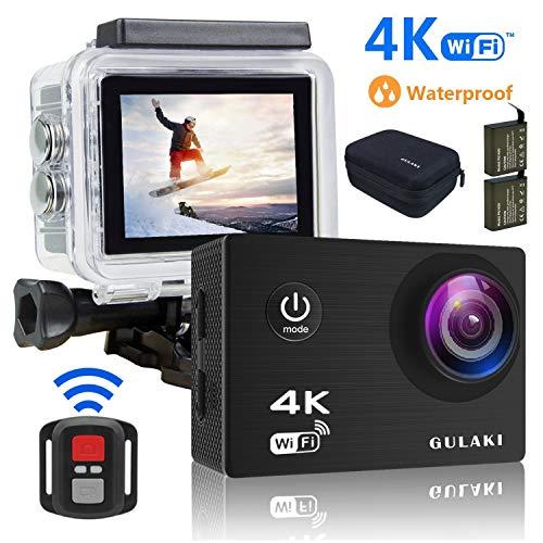 Action Kamera 4K/30FPS Wasserdicht, Sports cam 16MP Wi-Fi Unterwasser Kamera 30M 2.0 Zoll LCD-Bildschirm 170 ° Weitwinkel mit Sony Sensor - 2 PCs 1050mAh Batterien und 2.4GHz Remote Zubehör Kits