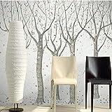 Worryd Hd Print Poster Picture 3D rétro arbre abstrait papiers peints peinture à la main peinture murale européenne rouleaux de papier peint chambre à coucher papier peint pour lit parapluie, B