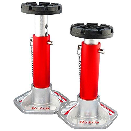 Aluminium Unterstellbock Ø 125mm - Tragkraft 3000Kg - Farbe: Rot - 7-fach verstellbar