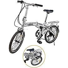 Ridgeyard Bicicleta plegable 20 pulgadas de 6 velocidades Bici plegable Folding bike Sport Shimano (plata