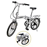 "Ridgeyard 20"" 6 Speed Silver Folding Foldable Adjustable City Bike"