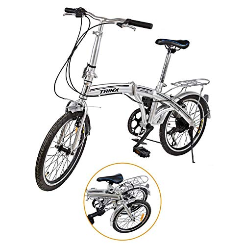 "Ridgeyard 20"" 6 Speed Silver Folding Foldable Adjustable City Bike Bicycles School Sports Shimano"