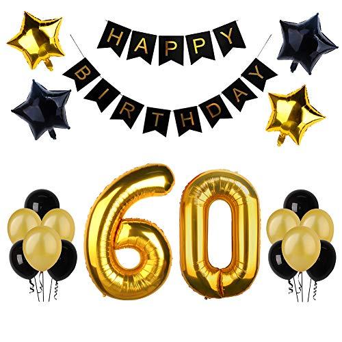 60.o kit de decoraciones de la fiesta de cumpleaños, Bandera del Feliz Cumpleaños, 60.ª Globos de Número de Oro, Globos de estrellas de látex, Perfectas Decoraciones de Cumpleaños de 60 Años de Edad