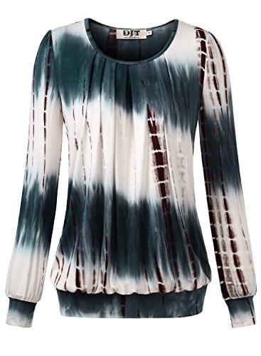 Stretch Tunika Bluse (DJT Damen Langarmshirt Rundhals Falten T-Shirt Stretch Tunika Top Koffee X-Large)