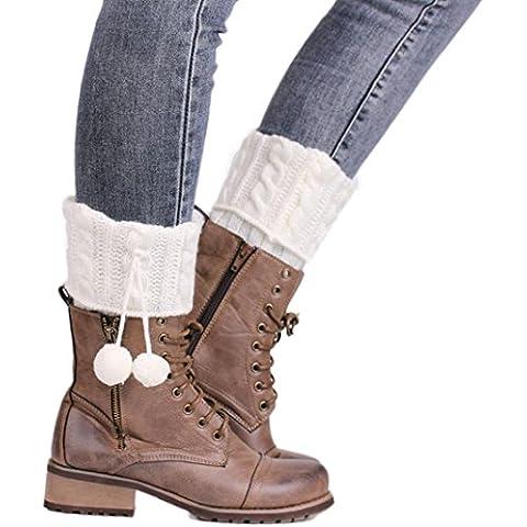 Clode® Las mujeres flores de cáñamo retardo ganchillo punto de media pierna cubierta de felpa botón recortar calcetines (Blanco)