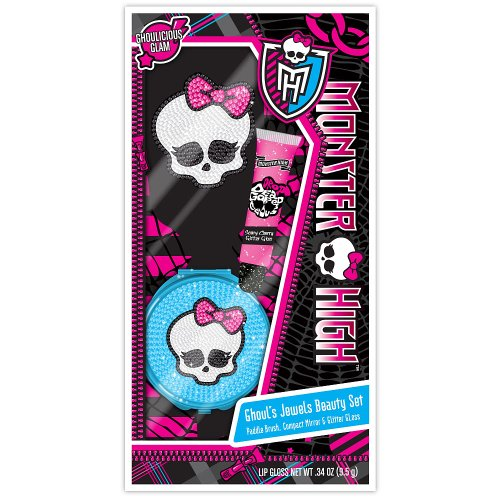 Monster High Ghoul's Jewels Beauty Set Brush Compact Lip Gloss Mh Compact