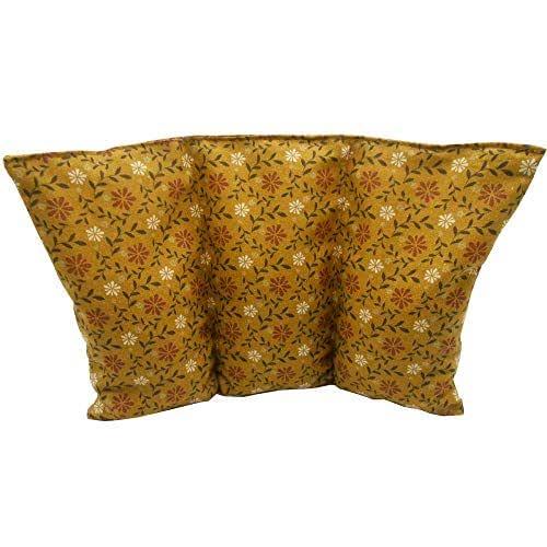 """Cuscino termico noccioli ciliegia """"Fiori marroni"""" - 26 x 16 cm (M / L) - pieno di noccioli di ciliegia 330gr - effetto freddo/caldo"""