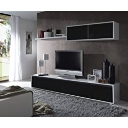 Mueble de comedor moderno , color blanco brillo y negro - Due-home