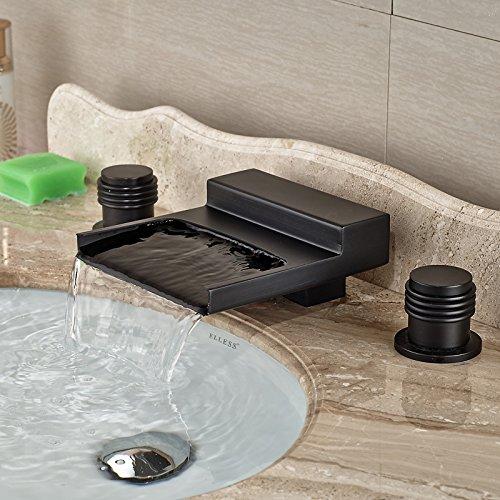 5151buyworld Top Qualität Wasserhahn Dual Griffe Badezimmer Wasserfall Einhandmischer Wasserhahn Deck Mount 3Löcher Hot Cold Wasser tapsfor Badezimmer Küche Home Gaden (begriffsklärung), chrom,