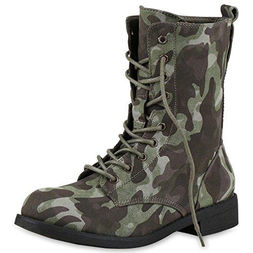 Japado , bottines classiques femme Camouflage Grün
