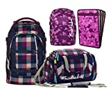 satch pack by ergobag 4er Set Schulrucksack + Sporttasche Berry Carry & Regencape + Heftebox Purple