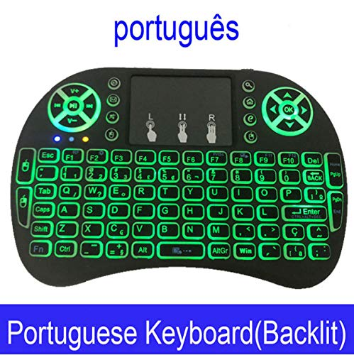 Keyboard Color Backlit Mini Wireless English Russian Air Mouse with Touchpad Remote Control Tv Box E -