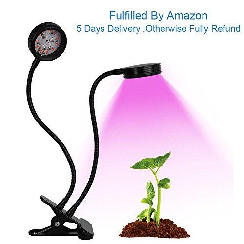 Lámpara de Crecimiento Vegetal 32LED 12W, Planta Hortícola LED con Rotación Doble de 360 ° + Temporizador de 3 Modos+5 Niveles Ajustables de Cuello de Cisne para Plantas   Con Interfaz USB