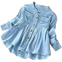... pijama seda ropa interior para novias ... ❤ Modaworld Camisas Niña, Camiseta Infantil de Mangas largas con Cuello Redondo y Blusa