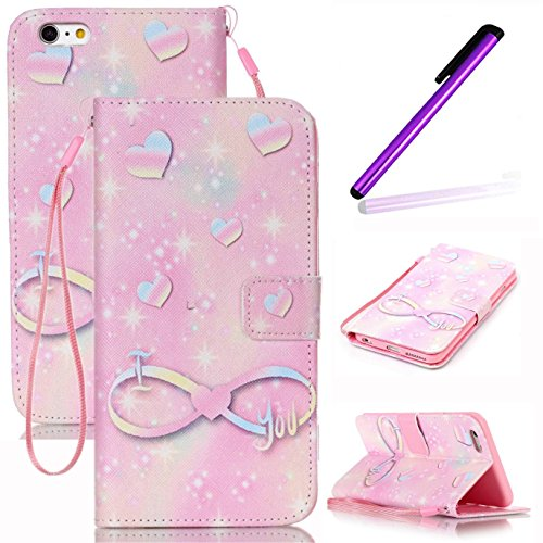 iPhone 6S Plus Coque Cuir,iPhone 6S Plus Coque en Cuir Folio Housse Flip Etui Housse pour iPhone 6 Plus,iPhone 6S Plus Coque Fille,iPhone 6S Plus Flip Etui de Protection PU Cuir Bookstyle Étui Housse  Angel Girl 4