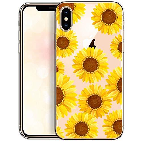 OOH!COLOR Bumper Compatible pour iPhone XS, iPhone X Cover Transparent Slim Silicone Ultra Fine Case Souple Etui Soft Coque avec Motif Fleur Tournesol Jaune Emballage JETABLE