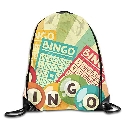 YOWAKi Printed Drawstring Backpacks Bags,Bingo Game with Ball and Cards Pop Art Stylized Lottery Hobby Celebration Theme,Adjustable String Closure -