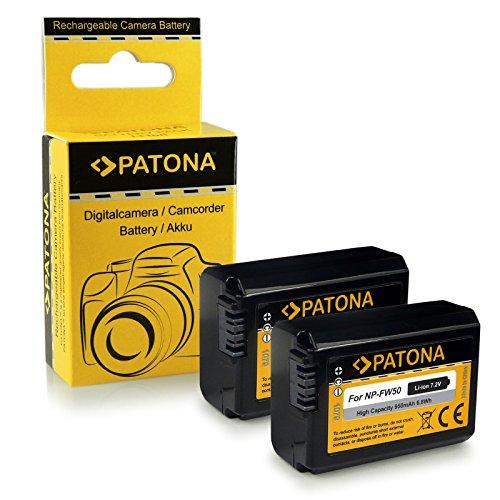2x batterie NP-FW50 per Sony NEX-3/NEX-3A/NEX-3D/NEX-3K/NEX-5/NEX-5A/NEX-5D/NEX-5H/NEX-5K/NEX-6/NEX-7, Sony Alpha 33 (SLT-A33)/37 (SLT-A37)/55 (SLT-A55)