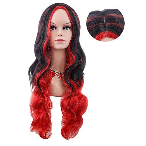 ge Lange Damen Frauen Haar Wig Farbverlauf Karneval Fasching Cosplay Party Kostüm MeineBeauty (Roten Kostüm Die Haare Färben)