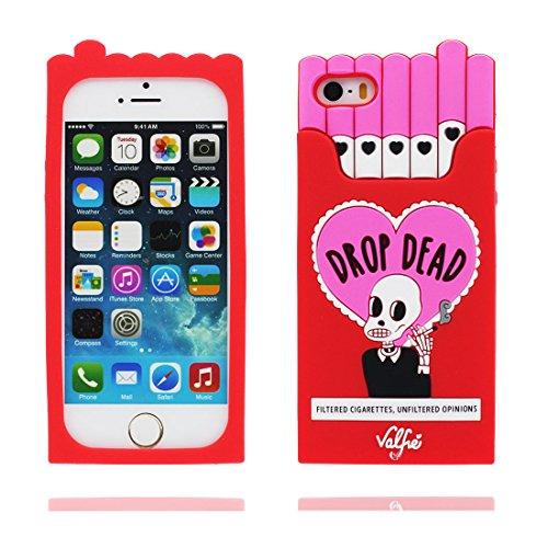 Hülle iPhone 5, iPhone 5S Case TPU 3D Cartoon Cigarette Holder Schädel Handyhülle iPhone SE 5s 5G 5C Cover Shell, haltbare weiche Skin Staub-Beleg-Kratzer beständig rot