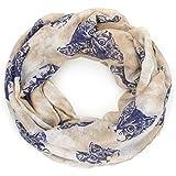 ManuMar Loop-Schal für Damen   Hals-Tuch mit Katzen-Motiv als perfektes Sommer-Accessoire   Schlauch-Schal - Das ideale Geschenk für Frauen